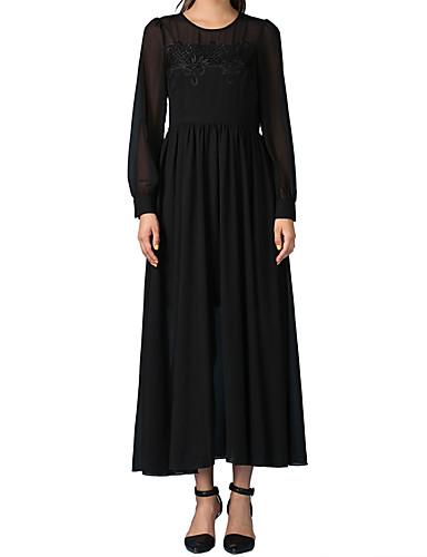 tyylikäs pitkähihainen musta puku keräilyyn iso keinu mekko rinnassa kääritty pala puku monimutkainen Gulei si