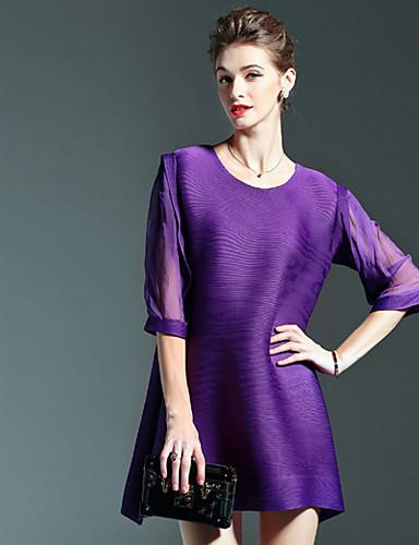 Damen Hülle Kleid-Lässig/Alltäglich Einfach Solide Rundhalsausschnitt Übers Knie Polyester Herbst Mittlere Hüfthöhe Dehnbar Mittel