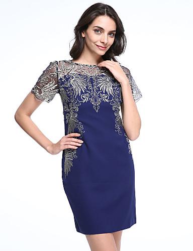Hülle Kleid Retro Jacquard Rundhalsausschnitt Übers Knie Kurzarm Blau Polyester Sommer Mittlere Hüfthöhe Mikro-elastisch
