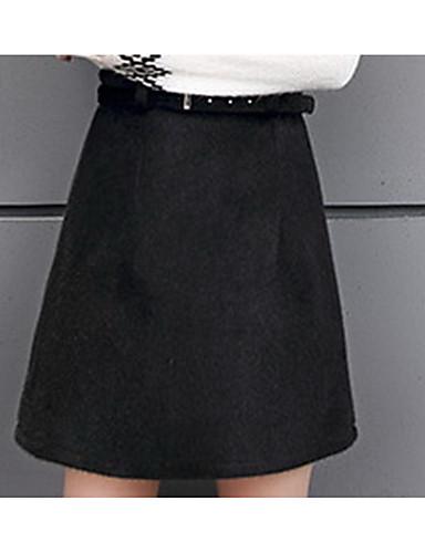 Damen Röcke,A-Linie einfarbigAusgehen Lässig/Alltäglich Sexy Vintage Street Schick Hohe Hüfthöhe Mini Reisverschluss Baumwolle Leinen