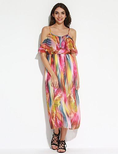 Kvinders Boheme Swing Trykt mønster Kjole Maxi Med stropper Polyester