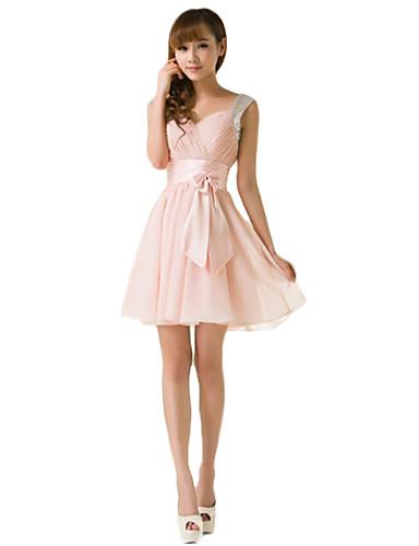 A-line trägerlosen kurzen / Mini-Chiffon Brautjungfer Kleid mit Rüschen