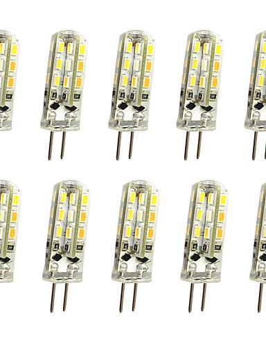 Недорогие Распродажа-jiawen 10pcs 1w 120lm g4 привело би-контактный свет кукурузы луковицы 24led smd 3014 декоративной люстры лампа теплый белый / холодный белый AC / DC 12v
