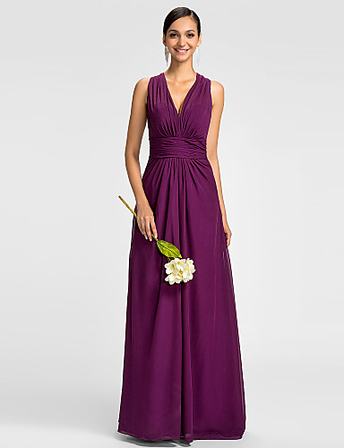 A-Line V Neck Floor Length Chiffon Bridesmaid Dress with Ruched Side Draping by LAN TING BRIDE®