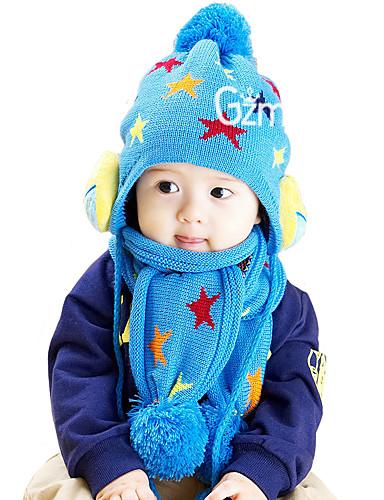 Mädchen Jungen Schal, Hut & Handschuhset Winter Strickware Gelb Rot Blau