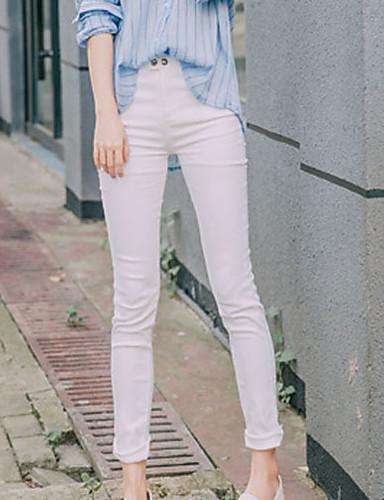 Damen Einfach Niedlich Hohe Hüfthöhe Mikro-elastisch Chinos Skinny Hose Solide