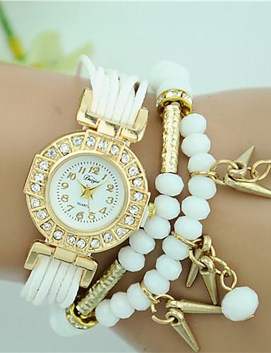 Damen Quartz Armband-Uhr Schlussverkauf Stoff Band Perlen Modisch Schwarz Weiß Blau Rot Braun Rose