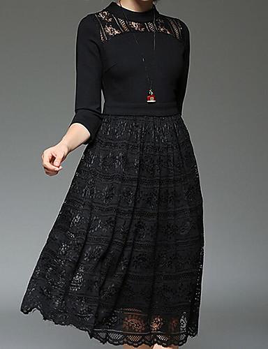 Damen A-Linie Kleid - Spitze, Solide Midi Ständer Hohe Hüfthöhe