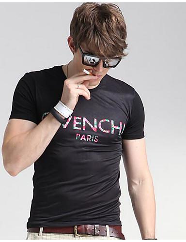 Herren Solide Geometrisch Einfach Lässig/Alltäglich T-shirt,Rundhalsausschnitt Kurzarm Seide Mittel