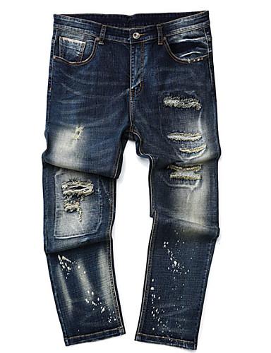 Herren Street Schick Mittlere Hüfthöhe Mikro-elastisch Jeans Gerade Hose,Ripped Einfarbig