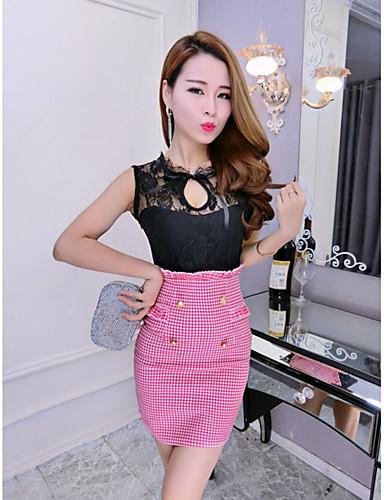Damen Bodycon Kleid-Ausgehen Sexy Solide V-Ausschnitt Maxi Ärmellos Rot Schwarz Baumwolle Herbst Mittlere Hüfthöhe Mikro-elastisch Mittel