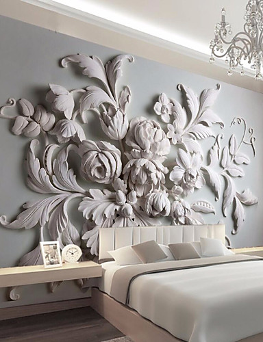 cheap Room-Large Floral Removable Peel and Stick Wallpaper Wall Mural Self Adhesive Wallpaper 3D Art Décor Wall Covering