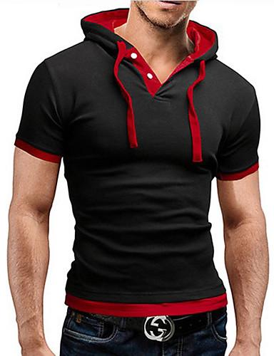 abordables T-shirts & Débardeurs Homme-Tee-shirt Homme, Couleur Pleine - Coton Actif Col de Chemise Bleu clair L / Manches Courtes / Eté