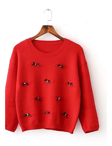Damen Standard Pullover-Ausgehen Lässig/Alltäglich Einfach Street Schick Solide Rundhalsausschnitt Langarm Acryl Polyester Elasthan