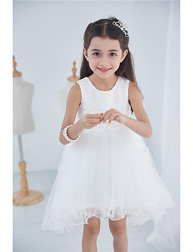 Prinsessa polvipituus kukka tyttö mekko - puuvilla georgette hihaton jalokivikaulus pitsiä