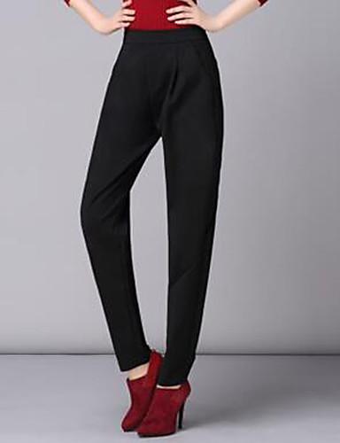 Damen Einfach Hohe Hüfthöhe Micro-elastisch Chinos Haremshosen Hose einfarbig