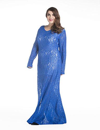 Damen Spitze Kleid-Übergröße Anspruchsvoll Solide V-Ausschnitt Maxi Langarm Blau Weiß Schwarz Elasthan Frühling Mittlere Hüfthöhe