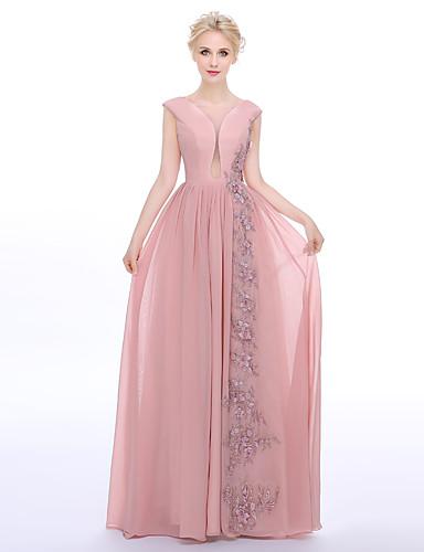 Eng anliegend Schmuck Boden-Länge Chiffon Charmeuse Formeller Abend Kleid mit Perlenstickerei Applikationen durch TS Couture®