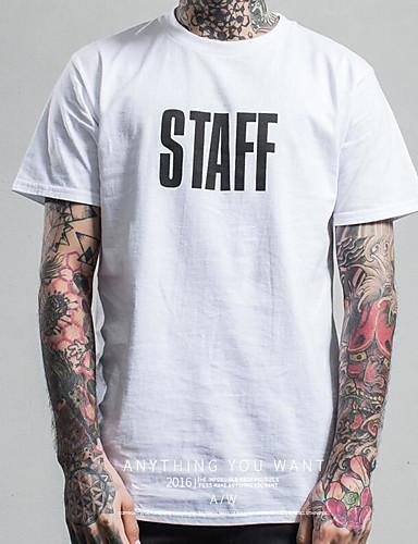 Herren Solide Street Schick Lässig/Alltäglich T-shirt,Rundhalsausschnitt Kurzarm Baumwolle