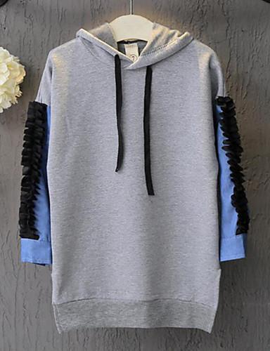 Mädchen Kapuzenpullover Ausgehen Lässig/Alltäglich einfarbig Baumwolle Frühling Herbst Lange Ärmel