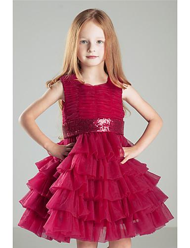 Prinzessin Knie Längenblume Mädchen Kleid - Baumwolle Krepp ärmellosen Juwel Hals mit Bogen (n) Pick-up Rock