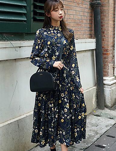 Damen Hülle Kleid-Lässig/Alltäglich Einfach Druck Rundhalsausschnitt Maxi Langarm Blau Rot Polyester Herbst Mittlere Hüfthöhe Unelastisch