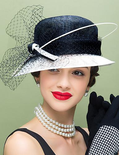 abordables Chapeau & coiffure-Lin / Plume / Filet Kentucky Derby Hat / Fascinators / Chapeaux avec Fleur 1pc Mariage / Occasion spéciale / Décontracté Casque