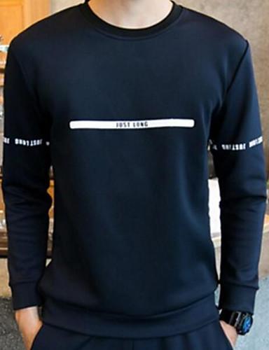 Herren Solide Einfach Aktiv Chinoiserie Sport T-shirt,Rundhalsausschnitt Frühling Winter Langarm Blau Schwarz Grau Baumwolle Mittel
