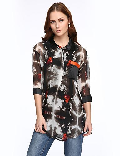 Krave Dame - Farveblok Plusstørrelser Bluse Polyester