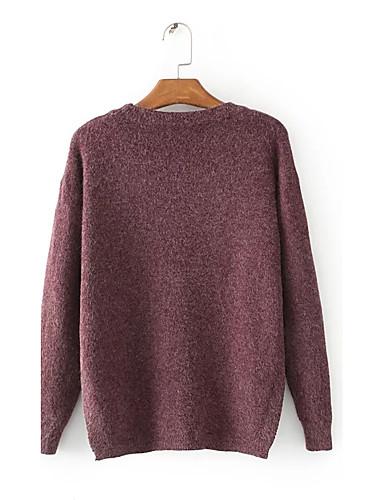 Damen Standard Pullover-Ausgehen Lässig/Alltäglich Einfach Street Schick Solide Rundhalsausschnitt Langarm Kunst-Pelz Polyester Elasthan