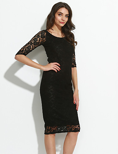 c32e88f668f Women s Going out Sophisticated Bodycon   Lace Dress - Solid Colored Black    Spring   Summer   Fall