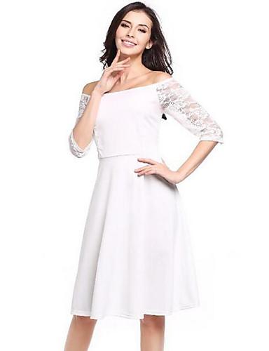 Damen A-Linie Kleid-Ausgehen Lässig/Alltäglich Sexy Street Schick Solide Patchwork Bateau Übers Knie ¾-Arm Weiß Polyester Elasthan