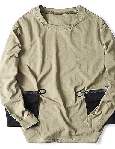 Herren Solide Einfach Lässig/Alltäglich T-shirt,Rundhalsausschnitt Herbst Winter Langarm Grau Grün Baumwolle