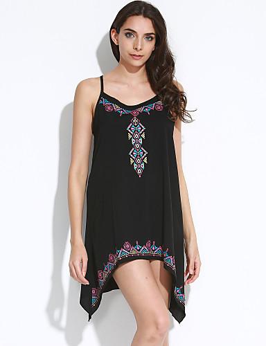 Damen Kleid-Hülle Sexy Druck Asymmetrisch Polyester Rundhalsausschnitt