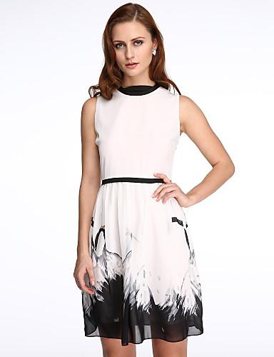 Kvinders Simpel I-byen-tøj A-linje Kjole Trykt mønster,Rund hals Knælang Uden ærmer Hvid Polyester Sommer