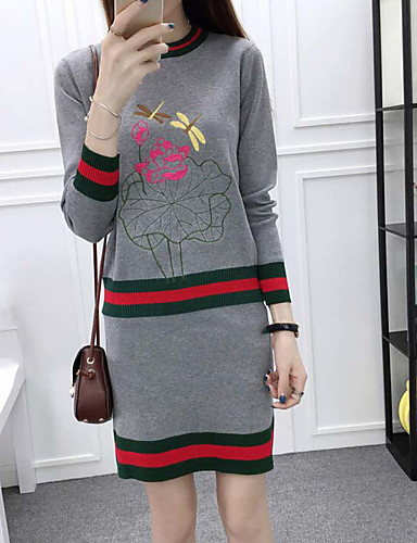 Damen Solide Einfach Lässig/Alltäglich Set Rock Anzüge,Rundhalsausschnitt Langarm Schwarz Grau Wolle