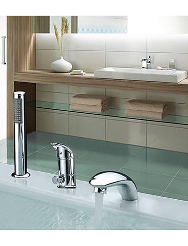 billige Sidesray-Badekarskran - Moderne / Art Deco / Retro / Land Krom Udspredt Keramisk Ventil Bath Shower Mixer Taps / Rustfritt Stål / Enkelt håndtak tre hull