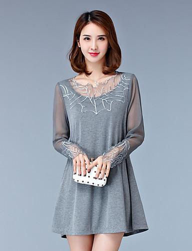 Women's Plus Size Casual Loose Dress,Embroidered Round Neck Above Knee Long Sleeves Rayon Polyester Spring Fall High Rise Micro-elastic