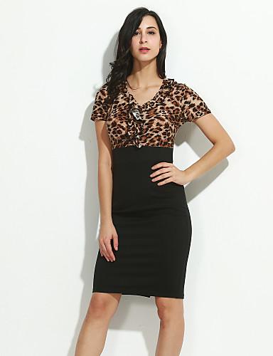 Damen Übergrössen Baumwolle Hose - Leopard Schwarz / V-Ausschnitt / Schlank