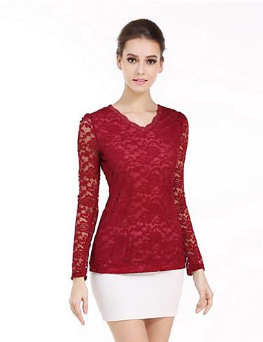 Mujer Sofisticado Noche / Trabajo Encaje / Cortado Camiseta, Escote en Pico Un Color / Primavera / Otoño