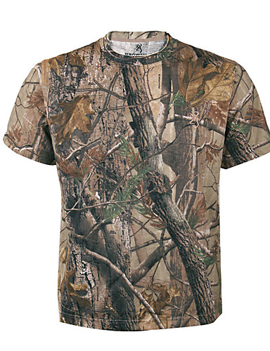 cheap Hunting Clothing-Men's Women's Unisex Camo / Camouflage Camouflage Hunting T-shirt Outdoor Sweat-wicking Tee / T-shirt Top Summer Cotton Terylene Short Sleeve Hunting