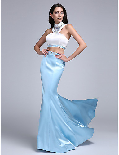 Mermaid / Trumpet Two Piece High Neck Sweep / Brush Train Stretch Satin Prom / Formal Evening Dress with Beading by TS Couture®