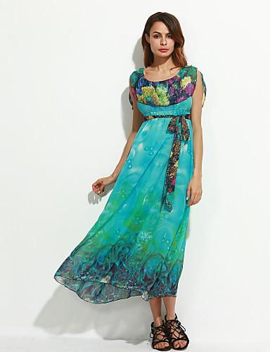 Damen Arbeit Swing Kleid - Druck Maxi