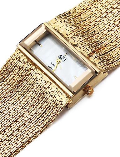 ASJ Mulheres Bracele Relógio Japanês Quartzo 30 m Impermeável Resistente ao Choque Cobre Banda Analógico Amuleto Casual Prata - Prata Dourado Um ano Ciclo de Vida da Bateria
