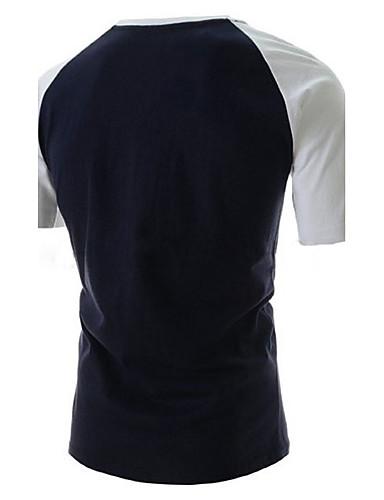 voordelige Heren T-shirts & tanktops-Heren Print T-shirt Katoen, Sport Letter Ronde hals Wit / Korte mouw
