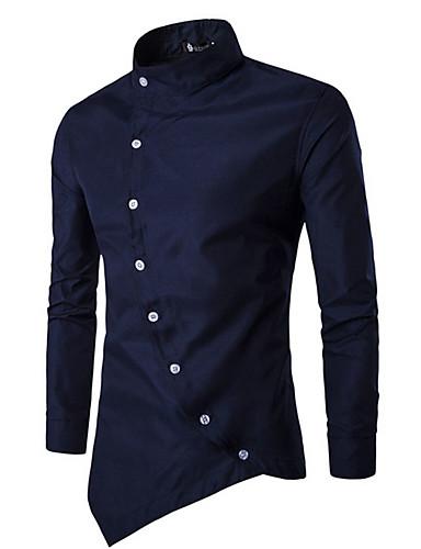お買い得  メンズトップス-男性用 ベーシック シャツ アジアン・エスニック スタンドカラー スリム ソリッド コットン / 長袖