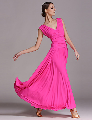 cheap Ballroom Dancewear-Ballroom Dance Dresses Women's Performance Viscose Draping Sleeveless Dress