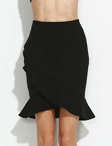 Women's Work Plus Size Bodycon Skirts - Solid Colored, Ruffle
