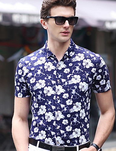 4dafc15694 Homens Tamanhos Grandes Camisa Social Floral Algodão Colarinho Clássico    Manga Curta