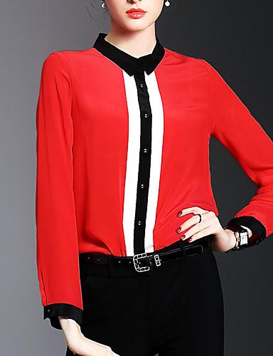 Mulheres Camisa Social - Formal / Para Noite / Trabalho Moda de Rua / Sofisticado Sólido Colarinho de Camisa / Primavera / Verão